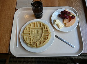 Waffle iron - Waffle made with a customized waffle iron, showing the Harvard escutcheon