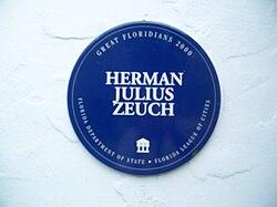 Photo of Herman Julius Zeuch blue plaque