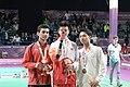 Victory Ceremony Boys Singles Badminton 2018 YOG 29.jpg