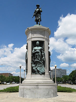 South Side, Chicago - The Victory Monument, which is listed on the National Register of Historic Places, is located in the Black Metropolis-Bronzeville District near the starting point of the Bud Billiken Parade