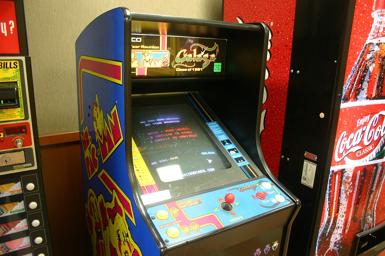 File Video Game Ms Pacman And Galaga Jpg Wikimedia Commons