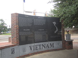 Texarkana metropolitan area - Vietnam Memorial in Texarkana honors those killed from Arkansas, Louisiana, Oklahoma, and Texas.