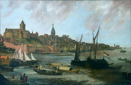 View from east to west on Nijmegen and castle Valkhof by Lieve Verschuier (1627-1686)