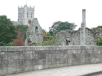 History of Christchurch, Dorset - The Constable's House and Priory; seen from the Town Bridge.