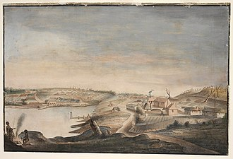 Sydney in 1794-1796 View of Sydney Cove - Thomas Watling.jpg