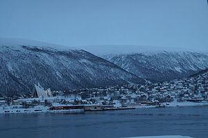 Tromsdalen - Tromsdalen viewed from Radisson Blu hotel in winter around noon time