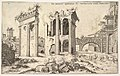 View of unidentified ruins with trabeated facade at left, arcades at center, and arch at right, from the series 'The Roman Ruins' (Praecipua aliquot Romanae antiquitatis ruinarum monimenta, vivis prospectibus) MET DP828813.jpg