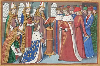 March to Reims - Coronation of Charles VII in Reims (miniature from the Vigiles du roi Charles VII de Martial d'Auvergne, Paris, BnF, département of Manuscrits).