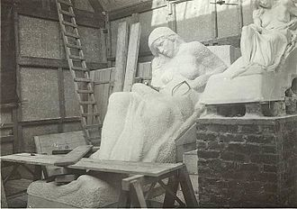 Walter Seymour Allward - Statue carving in progress
