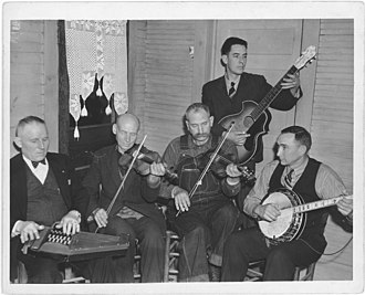 "Appalachian music - Ballard Branch Bogtrotters Band (a 1934-1942 string band); Ballard Branch, Galax, Va. 1937; Dr. W.P. ""Doc"" Davis autoharp, Uncle Alec ""Eck"" Dunford, Davy Crockett Ward fiddles, Wade Ward banjo, Fields Ward (b. January 23, 1911, in Buck Mountain, Grayson County, Virginia; d. October 26, 1987, Bel Air, Maryland)) guitar, vocals"