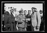 Visit to Beersheba Agricultural Station (Experimental) by Brig. Gen. Allen & staff & talks to Bedouin sheiks of district by station superintendent. Gen. Allan asking questions about this LOC matpc.20540.jpg