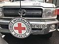 Voiture de la Croix Rouge (CICR) devant l'hôtel Ibis d'Erevan - 2.JPG
