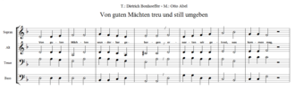 Otto Abel (composer) - Beginning of the hymn Von guten Mächten wunderbar geborgen by Dietrich Bonhoeffer and Otto Abel