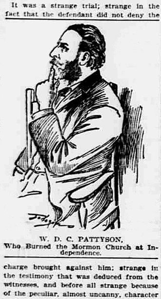 Temple Lot - RLDS and Hedrickite member William D.C. Pattyson at his trial in November 1898. Courtroom portrait published in the Kansas City Missouri Journal newspaper on December 1, 1898.