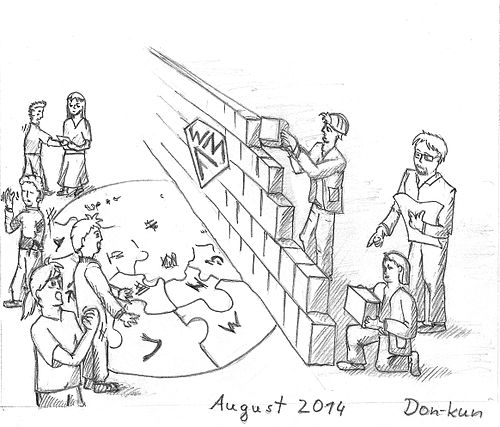 WMF building wiki wall in August 2014 caricature.jpg