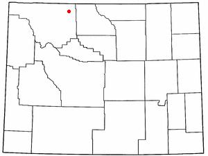 Ralston, Wyoming - Image: WY Map doton Ralston