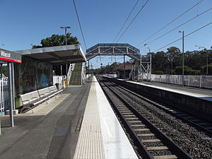 Wacol railway station - Southbound view from Platform 1 in September 2012