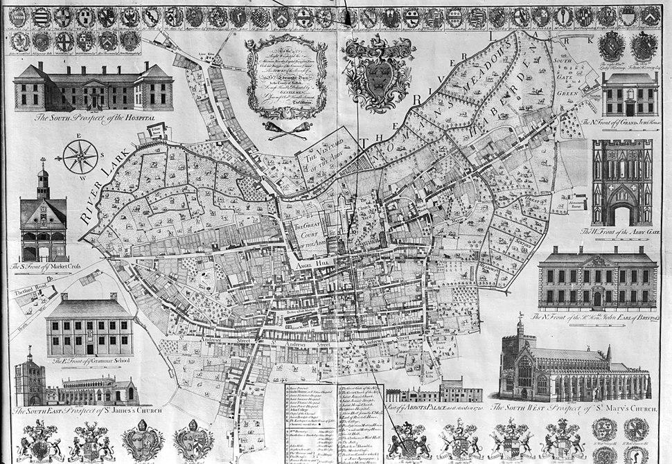 Warren's map of Bury St Edmunds Suffolk