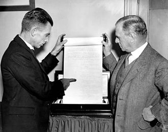 Secessionism in Western Australia - Keith Watson (left) and James MacCallum Smith (right), showing a page of the 1933 secession petition.