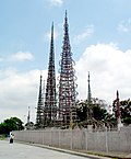 the skeletal spires of Watts Towers