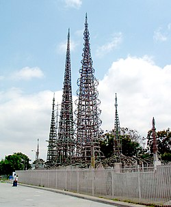 Watts' most famous landmark, the Watts Towers created by Simon Rodia