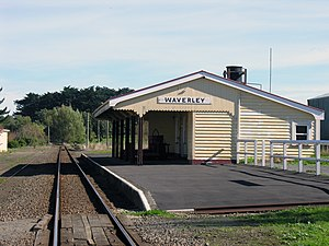 Marton–New Plymouth line - Waverley railway station in April 2006.
