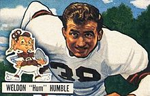 Weldon Humble on a 1951 Bowman football card