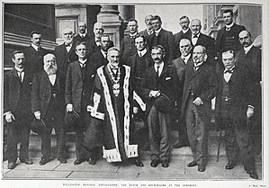 Wellington City mayoral election, 1905 - The 1905 Mayoral instillation ceremony, attended by the councillors.