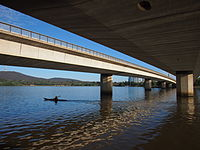 The western Commonwealth Avenue Bridge viewed from the southern shore of Lake Burley Griffin