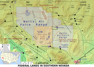 Mapa que muestra el Área 51, la Nellis Air Force Base y el Nevada Test Site.