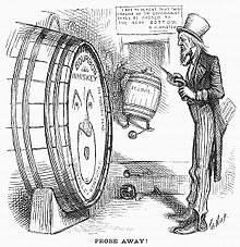 """Uncle Sam"" cartoon tapping a Louisville whiskey barrel, captioned ""probe away"""