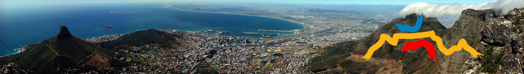 Panoramic view of the Cape Town city center, from Table Mountain