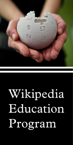 Wikipedia Education Program with mini Wikipedia globe in the hands of Moka.png