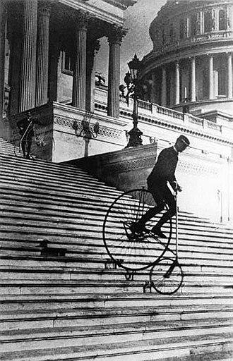American Star Bicycle - Will Robertson of the Washington Bicycle Club rides an American Star Bicycle down the steps of the United States Capitol in 1885.