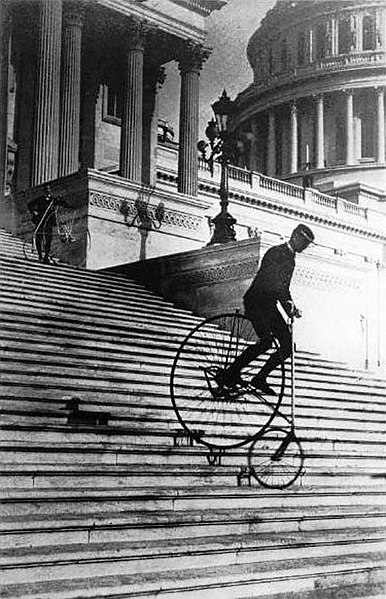 File:Will Robertson of the Washington Bicycle Club riding an American Star Bicycle down the steps of the United States Capitol in 1885.jpeg