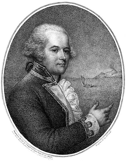 William Bligh, pictured in his 1792 account of the mutiny voyage, A Voyage to the South Sea William Bligh - Project Gutenberg eText 15411.jpg
