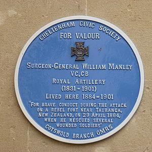William Manley - Blue plaque honouring William Manley VC in Cheltenham