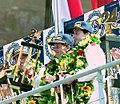 Winners Hurley Haywood, Mauro Baldi & Yannick Dalmas on the podium at the 1994 Le Mans (31822287072).jpg