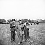 Winston Churchill with his daughter Mary and General Sir Frederick Pile (GOC Anti-Aircraft Command) watch anti-aircraft guns in action against V1 flying bombs, 30 June 1944. H39490.jpg