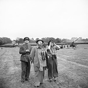 Frederick Alfred Pile - Pile, with Winston Churchill and Churchill's daughter, Mary, watch anti-aircraft guns in action against V1 flying bombs, 30 June 1944