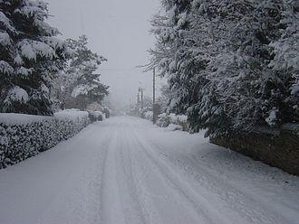 Thornhaugh - Winter view of Russell Hill, Thornhaugh.