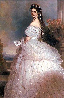 e9ef8fe7e9c55 Dress designed by Charles Frederick Worth for Elisabeth of Austria painted  by Franz Xaver Winterhalter
