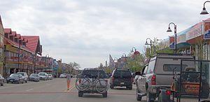 Wisconsin Dells, Wisconsin - Downtown Wisconsin Dells looking west