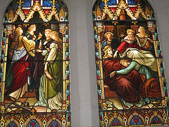 Parables of Jesus - A depiction of the Parable of the Ten Virgins on a stained glass window in Scots' Church, Melbourne
