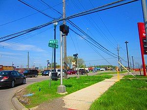 Woodhaven, Michigan - Allen Road looking north from West Road in May 2015.