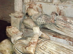 Effigies of George Bromley, a notable judge of the Tudor period and Joan Waverton of Hallon, his wife.
