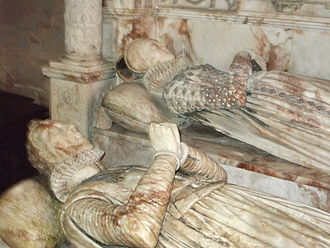 Edward Bromley - Effigies of George Bromley and Joan Waverton of Hallon, his wife, in St Peter's church at Worfield