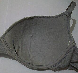 Underwire bra - Metal underwire protruding from a worn bra
