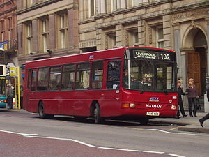 Glenvale Transport - Wright Crusader bodied Dennis Dart SLF in Liverpool in 2008 in the darker all over red livery