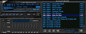 XMMS - XMMS's default theme. Here the three windows have been docked together. The top left box is the main control panel; the bottom left is the optional equalizer, and the right box is the playlist editor.